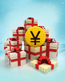 Christmas gift boxes with Yuan coin surprise at winter snowfall — Stock Photo