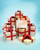 Christmas gift boxes with message surprise at winter snowfall — Stock Photo