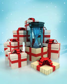 Christmas gift boxes with sand glass time surprise at winter snowfall — Stock Photo