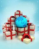 Jul gåva lådor med asien jorden världen överraskning på vintern snöfall — Stockfoto