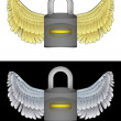 Flying angelic padlock icon in black and white set vector — Stock Vector