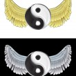 Stock Vector: Flying angelic yin and yang icon in black and white set vector