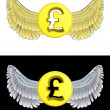 Stock Vector: Flying angelic Pound coin icon in black and white set vector