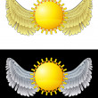 Stock Vector: Flying angelic sun icon in black and white set vector