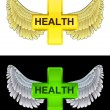 Flying angelic health icon in black and white set vector — Imagens vectoriais em stock