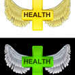 Flying angelic health icon in black and white set vector — Stock Vector