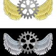 Flying angelic cogwheel icon in black and white set vector — Imagens vectoriais em stock