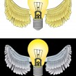 Flying angelic bulb icon in black and white set vector — Vektorgrafik