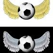 Flying angelic ball icon in black and white set vector — 图库矢量图片