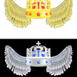 Flying angelic crown icon in black and white set vector — 图库矢量图片