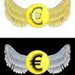 Stock Vector: Flying angelic Euro coin icon in black and white set vector