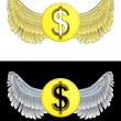 Flying angelic Dollar coin icon in black and white set vector — Stock Vector