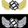 Stok Vektör: Flying angelic movie icon in black and white set vector
