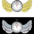 Flying angelic stopwatch icon in black and white set vector — Stock vektor