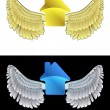 Flying angelic house icon in black and white set vector — Stock Vector #35941173