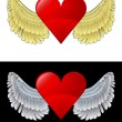 Flying angelic heart icon in black and white set vector — Stock Vector #35941199