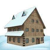 Rural winter wooden high cottage perspective vector — Stock Vector
