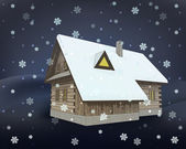 Classical winter wooden cottage at night snowfall vector — Stock Vector