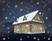 Classical winter wooden cottage at night snowfall vector — Stockvektor