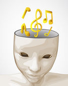 Open human mind to party music sound vector — Stock Vector