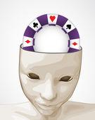 Open human mind to poker bet games fun — Stock Vector
