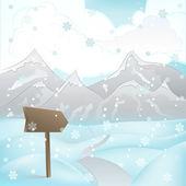 площадь горный пейзаж зимний вид с дороги и указатель на вектор снегопад — Cтоковый вектор