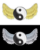 Flying angelic yin and yang icon in black and white set vector — Stock Vector