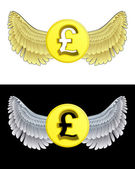 Flying angelic Pound coin icon in black and white set vector — Stock Vector