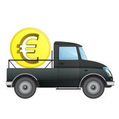 Isolated pick up car as Euro money business transporter vector drawing — Stock Vector