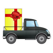 Isolated pick up car with gift box delivery vector drawing — Stock Vector