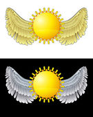 Flying angelic sun icon in black and white set vector — Stock Vector