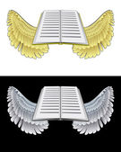 Flying angelic book icon in black and white set vector — Stock Vector
