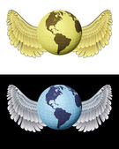 Flying angelic america globe icon in black and white set vector — Stock Vector