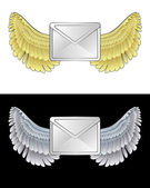 Flying angelic email icon in black and white set vector — Stock Vector