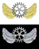 Flying angelic cogwheel icon in black and white set vector — Stock Vector