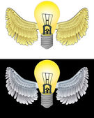 Flying angelic bulb icon in black and white set vector — Stock Vector