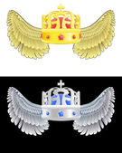Flying angelic crown icon in black and white set vector — Stock Vector