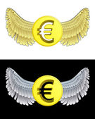 Flying angelic Euro coin icon in black and white set vector — Stock Vector
