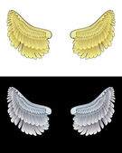 Golden angel wings and another dark one in black and white set vector — Stock Vector