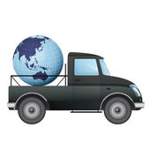 Isolated pick up car transportation in asian countries vector drawing — Stock Vector
