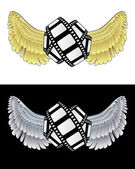 Flying angelic movie icon in black and white set vector — Stock Vector