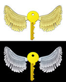 Flying angelic key icon in black and white set vector — Stock Vector