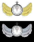 Flying angelic stopwatch icon in black and white set vector — Stock Vector