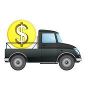 Isolated pick up car as Dollar money business transporter vector drawing — Stock Vector