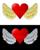 Flying angelic heart icon in black and white set vector — Stock Vector