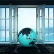Open doorway with Asia world globe and winter landscape scene behind — Stock Photo