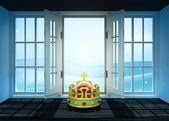 Open doorway with royal crown and winter landscape scene behind — Stockfoto