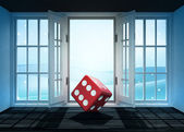 Open doorway with red dice and winter landscape scene behind — Stockfoto