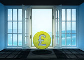 Open doorway with Pound coin and winter landscape scene behind — Stock Photo