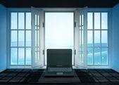 新しいノート パソコンとの背後にある冬の風景のシーンとの戸口を開く — ストック写真